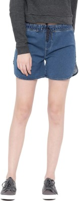 HRX by Hrithik Roshan Solid Women's Blue Denim Shorts at flipkart