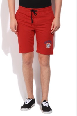 Flippd Solid Men's Red Basic Shorts