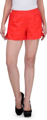 XnY Solid Women's Red Basic Shorts