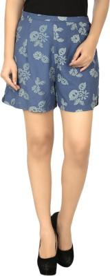 Eves Pret A Porter Floral Print Women's Blue, Green Basic Shorts