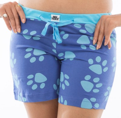 Nuteez Printed Women's Blue Basic Shorts at flipkart