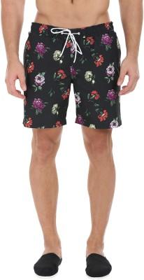 Zobello Self Design Mens Black Swim Shorts