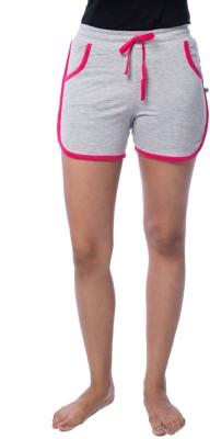 Nite Flite Solid Women's Grey, Pink Night Shorts