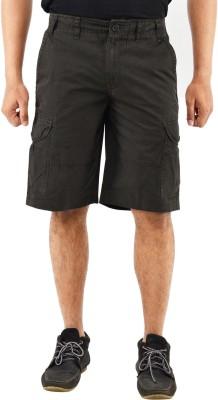 Blue Wave Solid Men's Black Cargo Shorts
