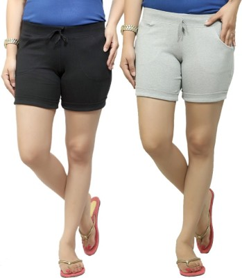 By The Way Solid Women's Black, Grey Basic Shorts, Beach Shorts, Cycling Shorts, Night Shorts