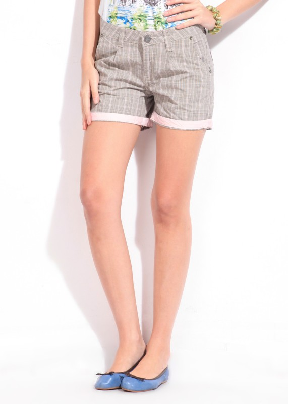 American Swan Checkered Women's Brown Shorts