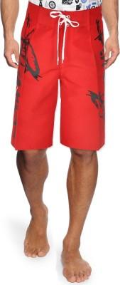 Yellow Tree Printed Men's Red, Black Chino Shorts