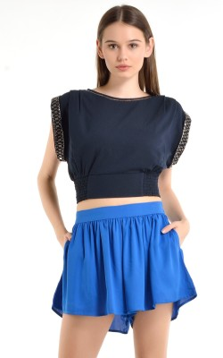 Kazo Solid Women's Blue Basic Shorts