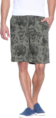 Blue Wave Printed Men's Green Basic Shorts