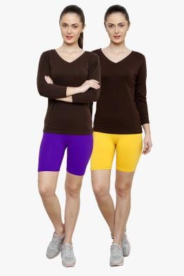 Softrose Solid Women's Purple, Yellow Cycling Shorts