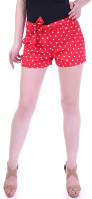 Street 9 Polka Print Women's Red, White High Waist Shorts