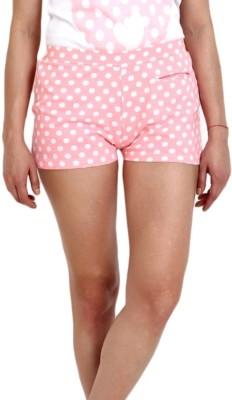 Slumber Jill Polka Print Women's Pink, White Basic Shorts
