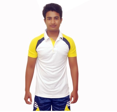 Dyed Colors Solid Men's Polo Neck White, Yellow T-Shirt