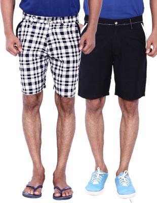 Calloway Solid Men's Black, Grey, White Basic Shorts