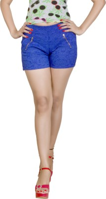 Ruok Embroidered Women's Blue Hotpants