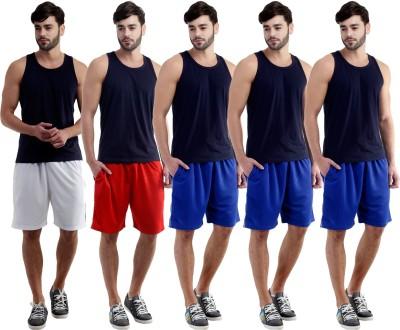 Dee Mannequin Self Design Men's White, Red, Blue, Blue, Blue Sports Shorts