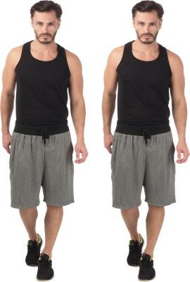 Meebaw Self Design Men,s Grey, Grey Sports Shorts