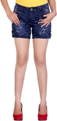 F Fashion Stylus Printed Women's Blue Denim Shorts