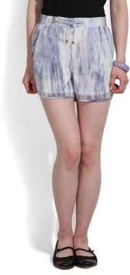 Vero Moda Printed Women's White, Purple Night Shorts