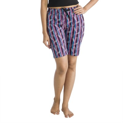Nite Flite Printed Women's Purple, Multicolor Bermuda Shorts