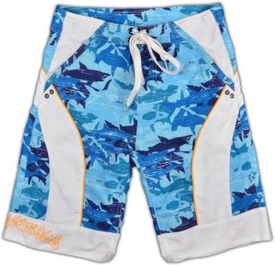 Blacksoul Printed Men's Light Blue Beach Shorts
