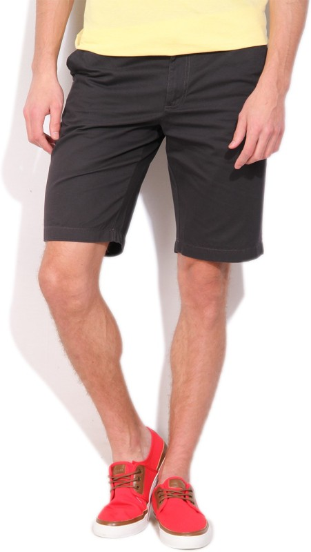 Indian Terrain Solid Men's Dark Blue Basic Shorts