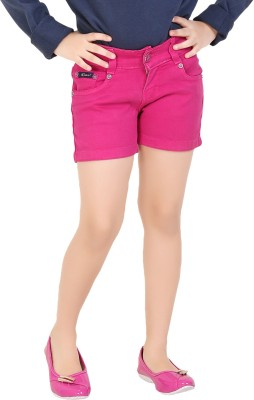 Clench Solid Girl's Pink Denim Shorts