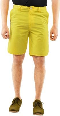 Blue Wave Solid Men's Gold Basic Shorts