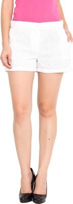 Paprika Solid Women's White Basic Shorts