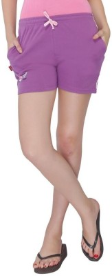 Red Ring Solid Women's Purple Night Shorts