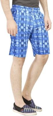 Primo Printed Men's Blue Basic Shorts, Beach Shorts, Bermuda Shorts