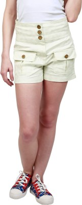 Ragdoll Solid Women's Denim White Denim Shorts