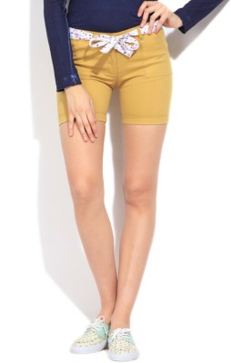STYLE QUOTIENT BY NOI Solid Women's Beige Basic Shorts