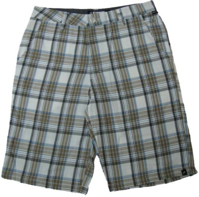 Acetone Checkered Mens White Chino Shorts