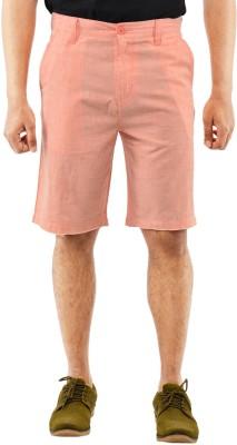Blue Wave Solid Men's Orange Basic Shorts