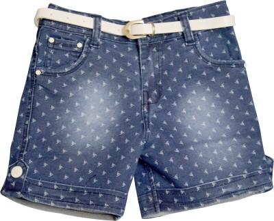 IL n ELLE Printed Girl's Denim Blue Denim Shorts