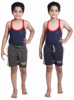 Red Ring Self Design Boy's Grey, Blue Sports Shorts