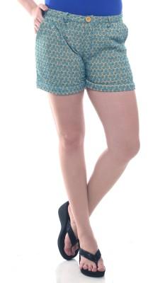 Lyla Embroidered Women's Yellow, Blue Basic Shorts