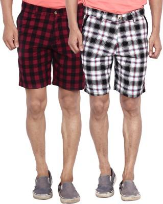 Calloway Checkered Men's Black, Grey, Red Basic Shorts