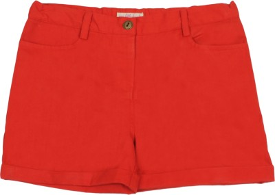 My Little Lambs Solid Girl's Red Chino Shorts