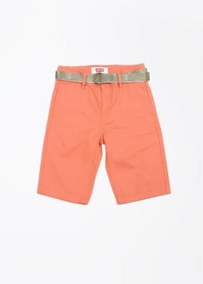 Levi's Solid Boy's Orange Denim Shorts