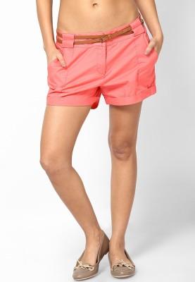 Vero Moda Solid Women's Red Chino Shorts