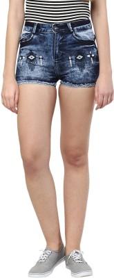 CODE 61 Self Design Women,s Blue Denim Shorts