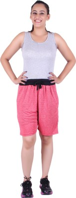 Gag Wear Solid Women's Red Sports Shorts at flipkart