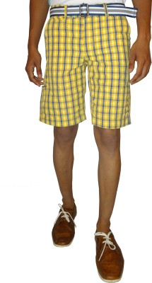 East West Checkered Men,s Yellow Basic Shorts
