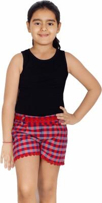 Naughty Ninos Checkered Girl's Red Basic Shorts