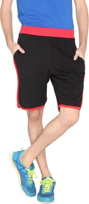 LUCfashion Solid Men's Black, Red Sports Shorts