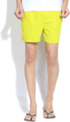 Quiksilver Solid Men,s Yellow Sports Shorts
