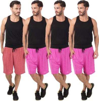 Meebaw Self Design Men,s Red, Pink, Pink, Pink Sports Shorts