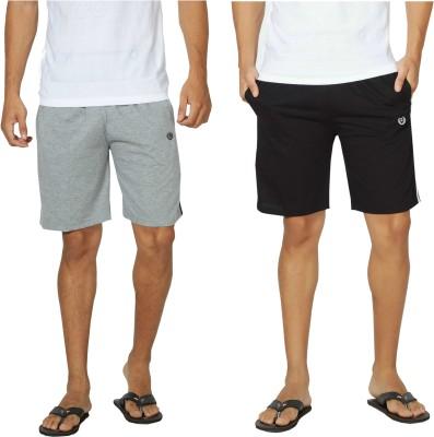 Alan Jones Solid Men,s Black, Grey Bermuda Shorts, Gym Shorts, Night Shorts, Beach Shorts, Running Shorts, Sports Shorts